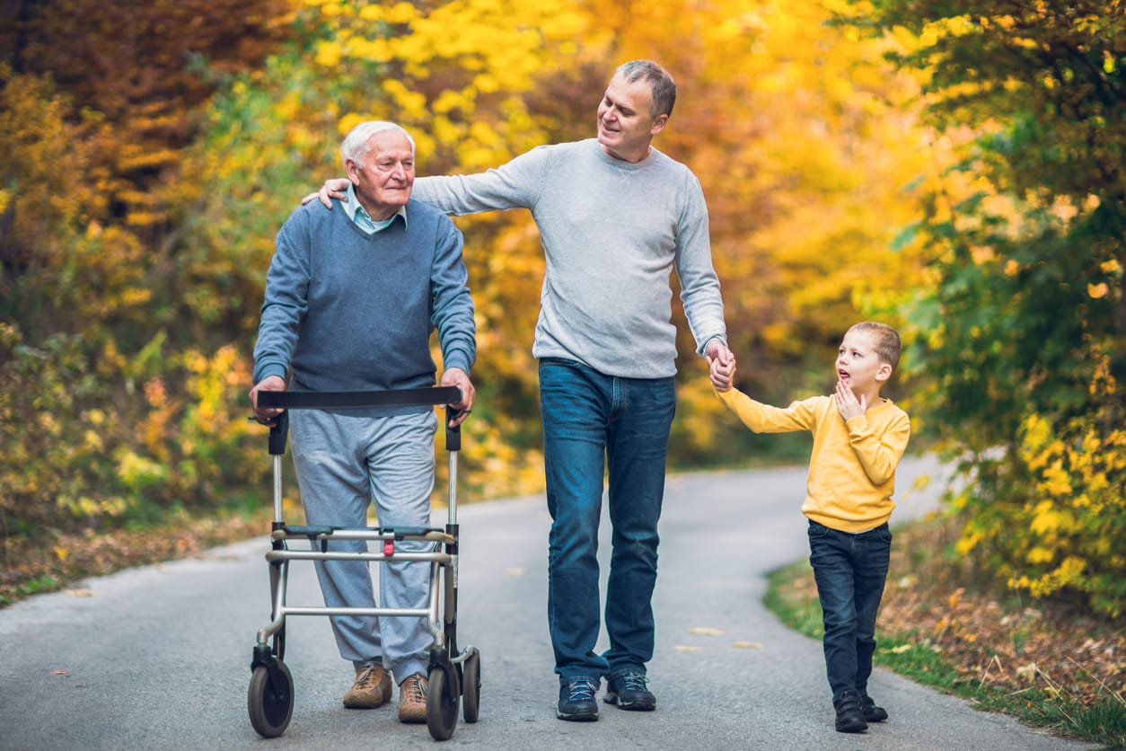 Elderly Man with Son and Grandson